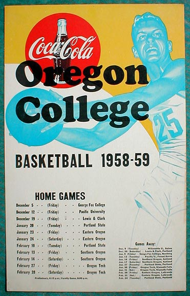 college schedule maker. 1958 Oregon College Cardboard